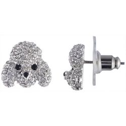 Pet Friends Crystal Poodle Face Stud Earrings