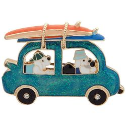 Pet Friends Gold Tone Dogs Riding In A Car Pin