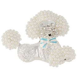 Pet Friends Faux Pearls & Rhinestone Poodle Pin