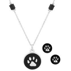 Pet Friends Silver Tone Paw Print Necklace & Earring Set