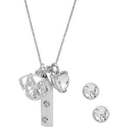 Pet Friends Silver Tone Dog Charms Necklace & Earring Set