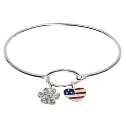 Pet Friends Silver Tone Paw & Heart Flag Bangle Bracelet