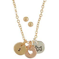 Pet Friends Tri Tone I Love Dogs Charm Necklace Set