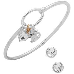 Pet Friends Two Tone Cat Bangle Bracelet & Earring Set