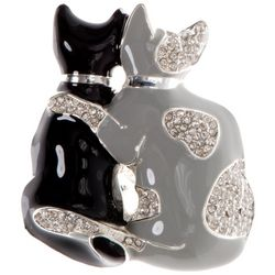 Pet Friends Jet Black & Silver Tone Double Cat Pin
