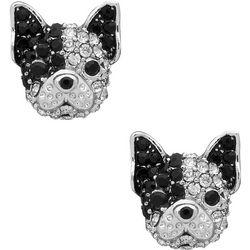 Pet Friends Pave Crystal Pug Stud Earrings