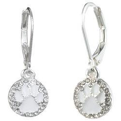 Pet Friends White Enamel & Rhinestone Paw Print Earrings