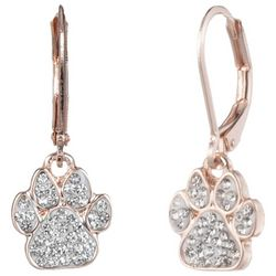 Pet Friends Rose Gold Tone & Rhinestone Paw Print Earrings