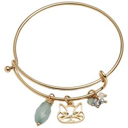 Pet Friends Green & Gold Tone Cat Charm Bangle Bracelet