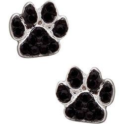 Pet Friends Black Crystal Pawprint Stud Earrings