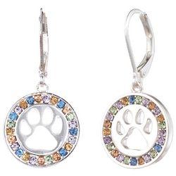 Pet Friends Pastel Rhinestone Paw Print Disc Earrings