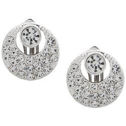 Gloria Vanderbilt Rhinestones Button Clip On Earrings