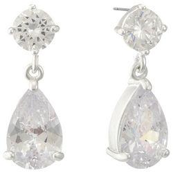 Gloria Vanderbilt Silver Tone CZ Teardrop Earrings