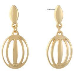 Gloria Vanderbilt Gold Tone Open Oval Drop Earrings