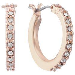 Gloria Vanderbilt Rose Gold Tone Rhinestone Hoop Earrings