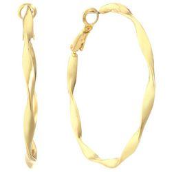 Gloria Vanderbilt 47mm Wavy Twist Hoop Earrings