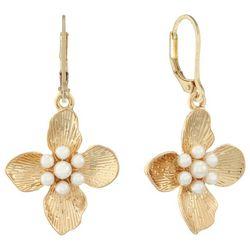 Gloria Vanderbilt Gold Tone Flower Leverback Earrings