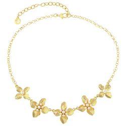 Gloria Vanderbilt Gold Tone Flower Front Necklace
