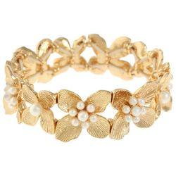 Gloria Vanderbilt Gold Tone Flower Stretch Bracelet