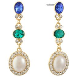 Gloria Vanderbilt Faux Pearl Triple Drop Dangle Earrings