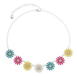 Gloria Vanderbilt Rhinestone Embellished Flower Necklace