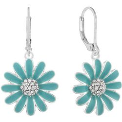 Gloria Vanderbilt Green Flower Leverback Drop Earrings
