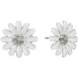 Gloria Vanderbilt White Flower Post Back Earrings