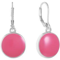 Gloria Vanderbilt Pink & Silver Tone Round Drop Earrings