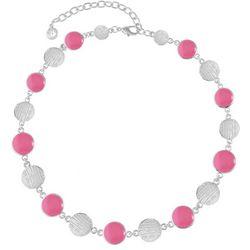 Gloria Vanderbilt Pink Enamel Discs Silver Tone Necklace