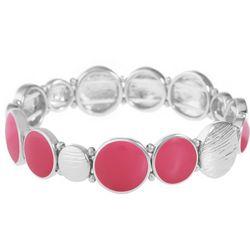 Gloria Vanderbilt Silver Tone & Pink Discs Stretch Bracelet