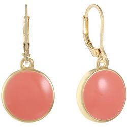 Gloria Vanderbilt Coral Pink & Gold Tone Round Earrings