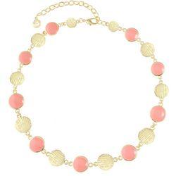 Gloria Vanderbilt Coral Pink Enamel Discs Necklace