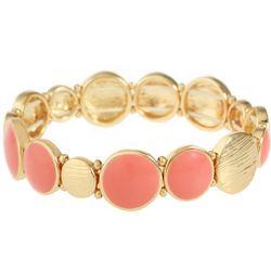 Gloria Vanderbilt Coral Pink & Gold Tone Stretch Bracelet