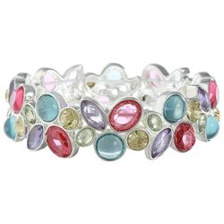 Gloria Vanderbilt Silver Tone Multi Stone Stretch Bracelet