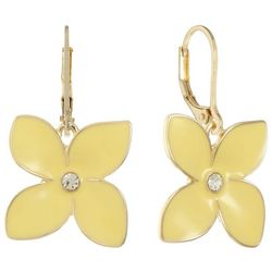 Gloria Vanderbilt Yellow Flower Leverback Drop Earrings