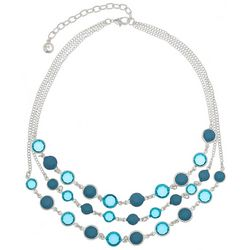 Gloria Vanderbilt Blue Multi Channel Stone Necklace