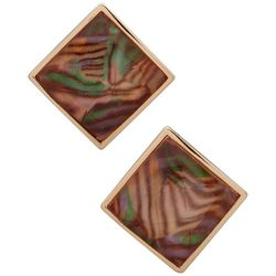 Gloria Vanderbilt Gold Tone Square Button Stud Earrings