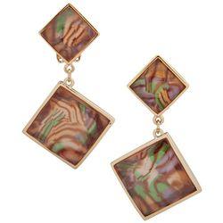 Gloria Vanderbilt Gold Tone Double Square Clip On Earrings