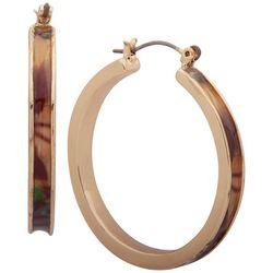 Gloria Vanderbilt Gold Tone Click It Hoop Earrings