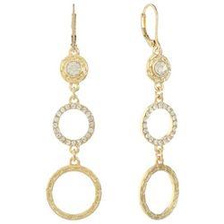 Gloria Vanderbilt Gold Tone Triple Circle Drop Earrings