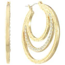 Gloria Vanderbilt Gold Tone 35mm Rhinestone Hoop Earrings