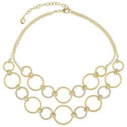 Gloria Vanderbilt Gold Tone Rhinestone Link Circle Necklace
