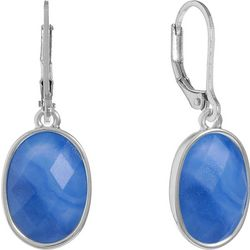 Gloria Vanderbilt Blue Oval Dangle Earrings