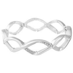 Gloria Vanderbilt Silver Tone Rhinestone Stretch Bracelet