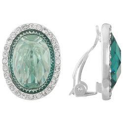 Gloria Vanderbilt Silver Tone Aqua Green Clip On Earrings