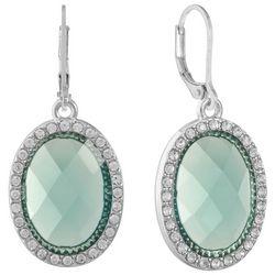 Gloria Vanderbilt Silver Tone Aqua Green Drop Earrings