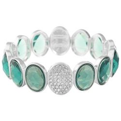 Gloria Vanderbilt Silver Tone Aqua Green Stretch Bracelet