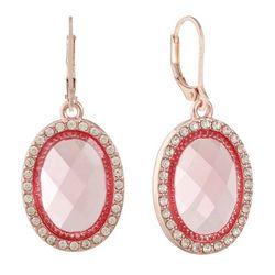 Gloria Vanderbilt Rose Gold Tone Pink Leverback Earrings