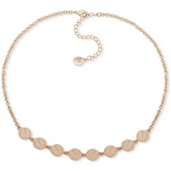 Gloria Vanderbilt Gold Tone Textured Disc Necklace