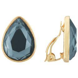 Gloria Vanderbilt Gold Tone Denim Blue Clip On Earrings